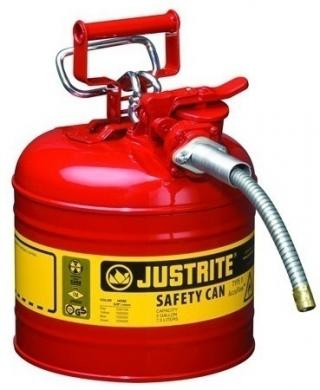 Justrite Type 2 AccuFlow Steel Safety Can 5/8 Inch Hose - 2 Gal