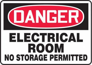 Accuform Danger Electrical Room - No Storage Permitted Sign