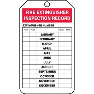 Accuform OSHA Fire Extinguisher Tags: Fire Extinguisher Inspection Record (5 Pack)