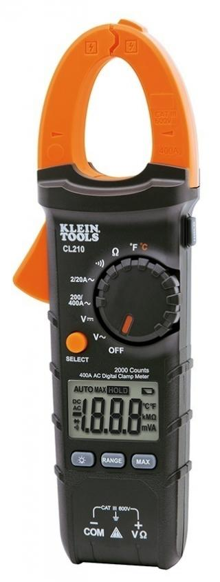 Klein Tools CL210 Digital Clamp Meter AC Auto Ranging Temp