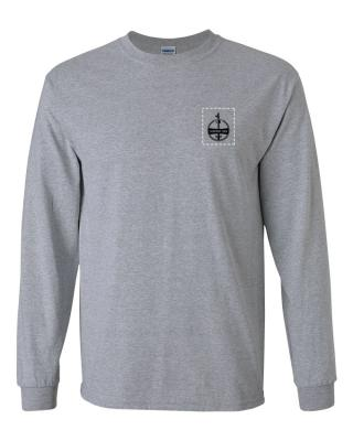 Custom Company Logo Heather Gray Long Sleeve T-Shirt