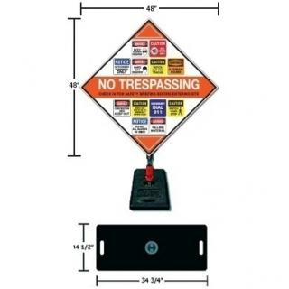 Construction Job Site Safety Sign and Portable Base