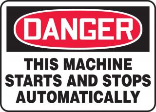 Accuform 'Danger This Machine Starts and Stops Automatically' Sign