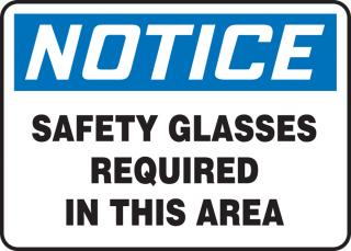 Accuform 'Notice Safety Glasses Required In This Area' Sign