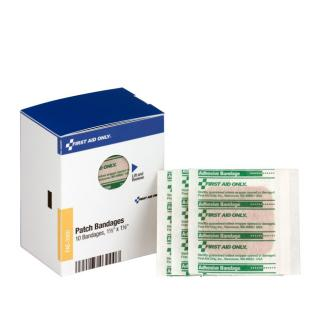 First Aid Only SmartCompliance Refill 1-1/2 Inch X 1-1/2 Inch Patch Plastic Bandages, 10 Per Box