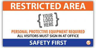Restricted Area Job Site Safety Banner, Custom Logo