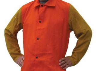 Tillman Orange Jacket with Leather Sleeves