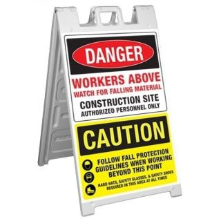 GME Supply Danger Workers Above/Caution Fold Up Job Site Sign