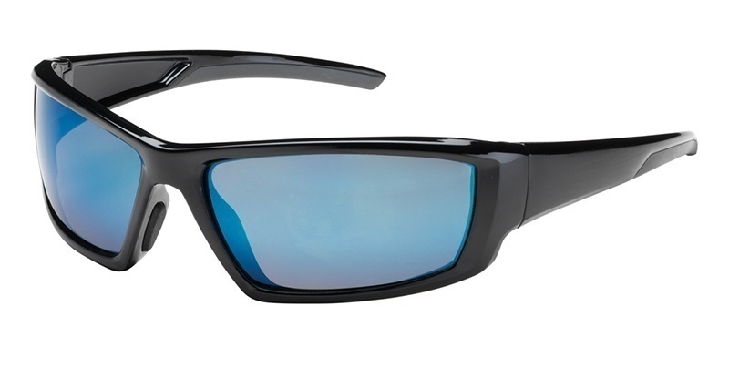 Bouton Sunburst Safety Glasses with Blue Mirror Lens and Black Frame 250-47-0006 from GME Supply